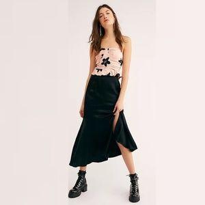 NEW Free People ON THE TOWN Midi Skirt Black Satin